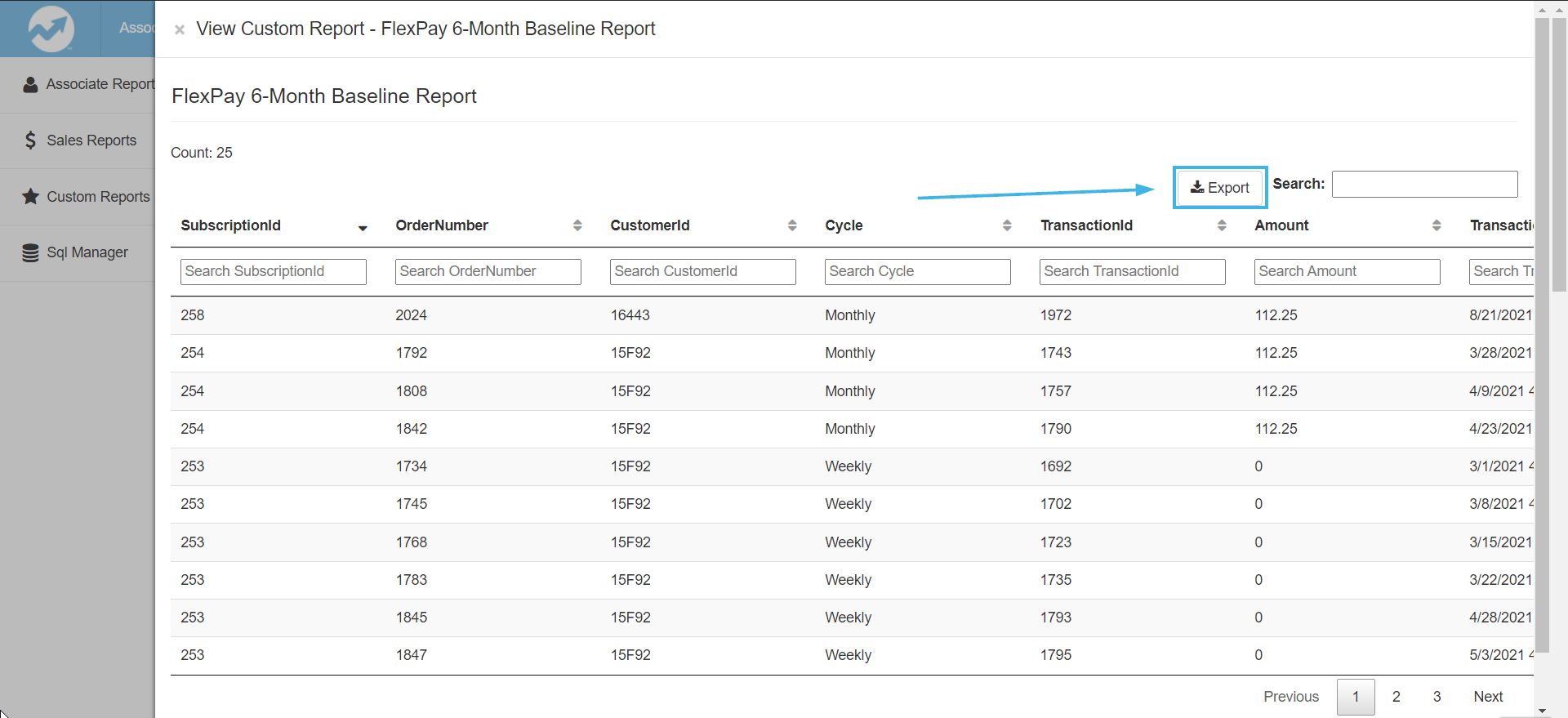 Export the report to a CSV file