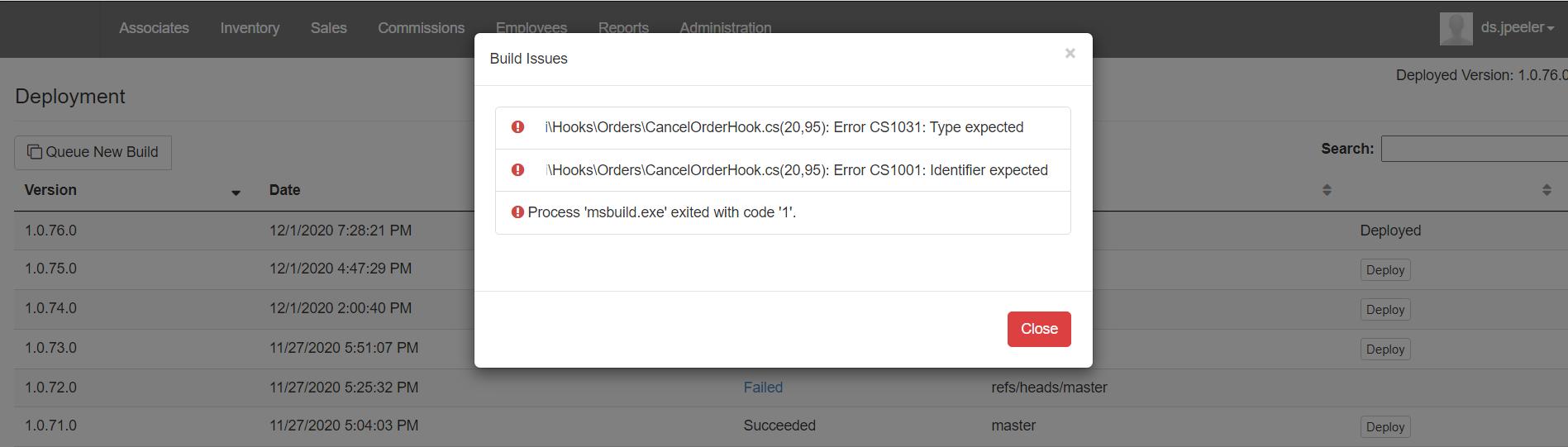 Build Errors pop-up