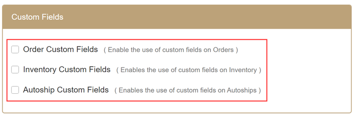 Custom Fields section