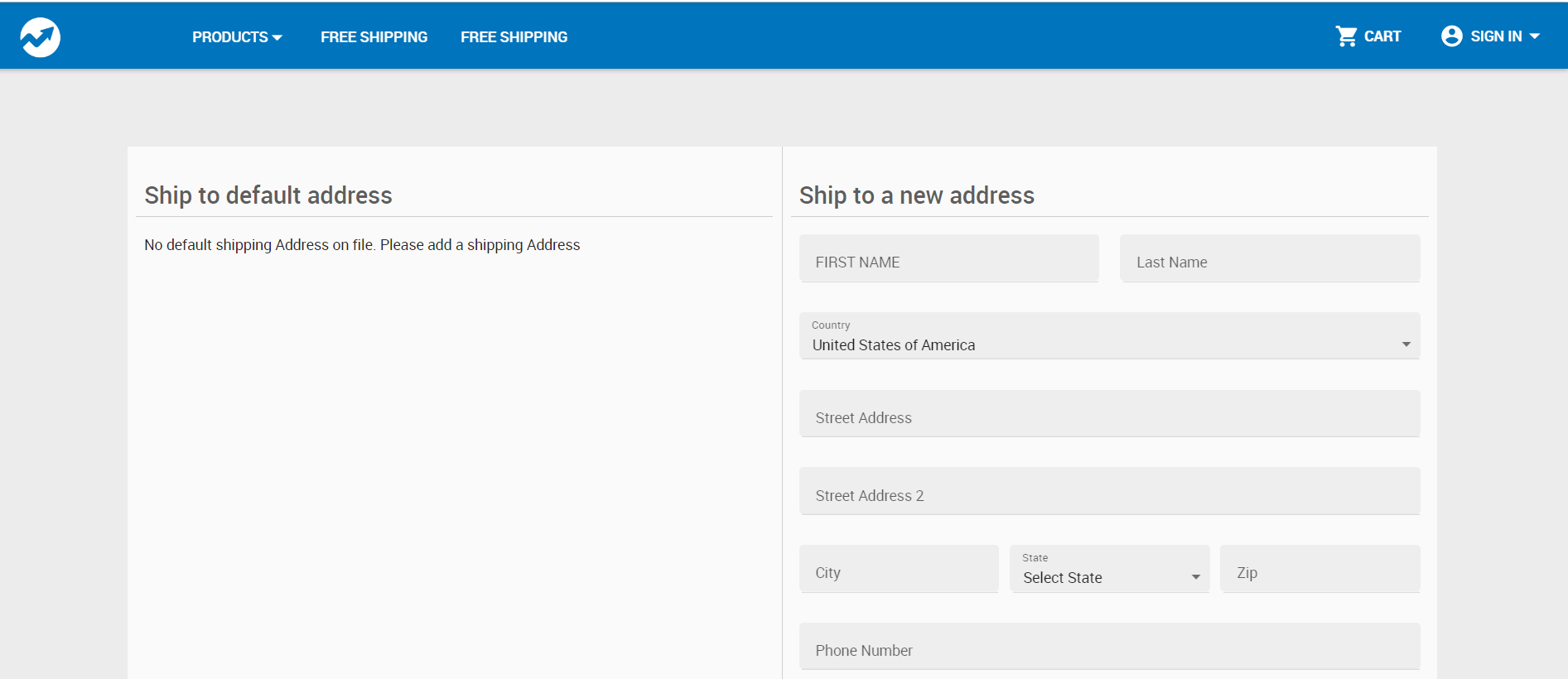 Shipping Page Template
