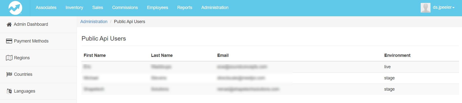 Public API Users page