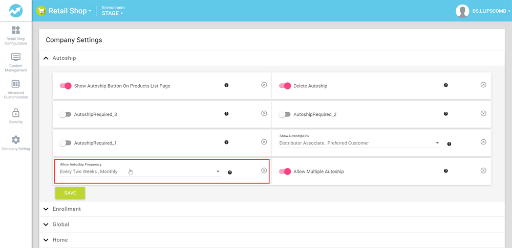 Frequency dropdown in eCommerce Admin