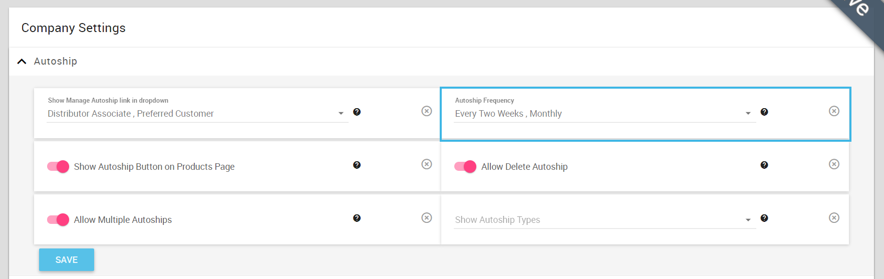 Allow Autoship Frequency dropdown