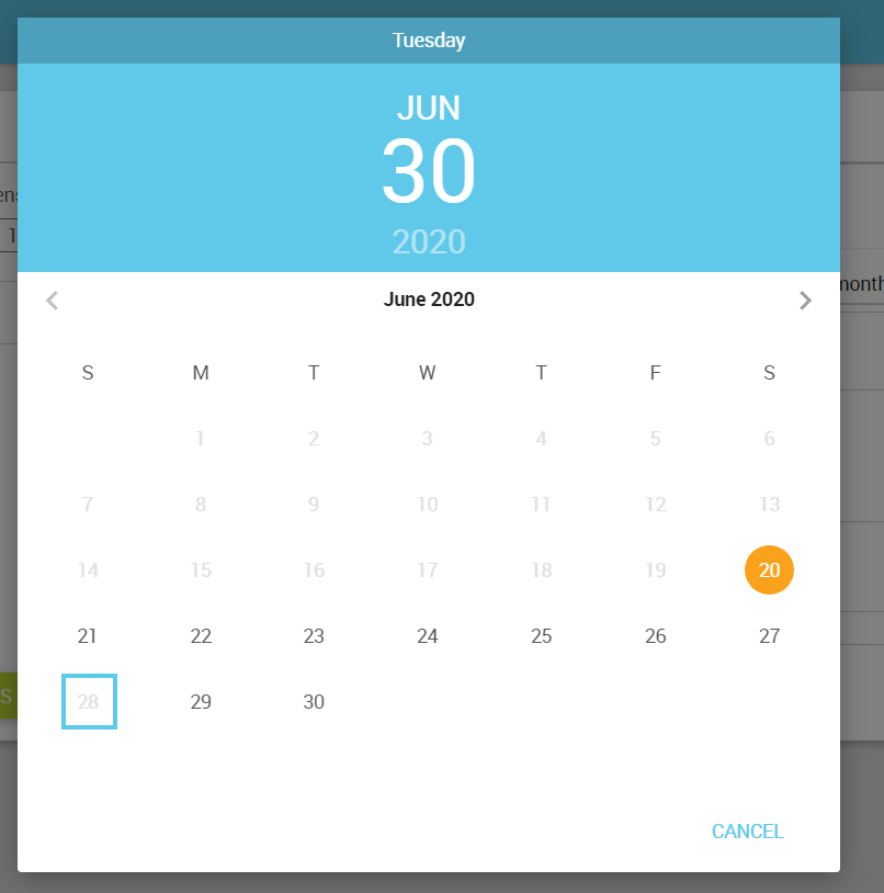 Restricted Date in Web Office