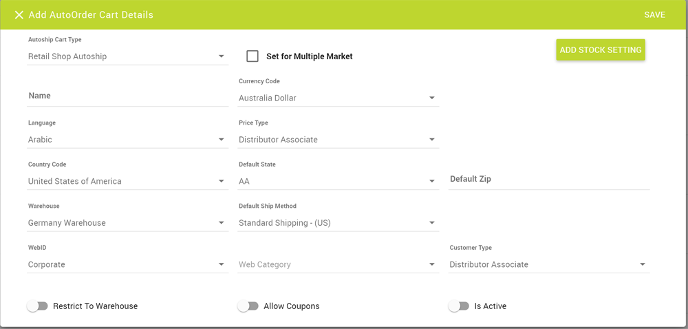 Add AutoOrder Cart Details for a single market