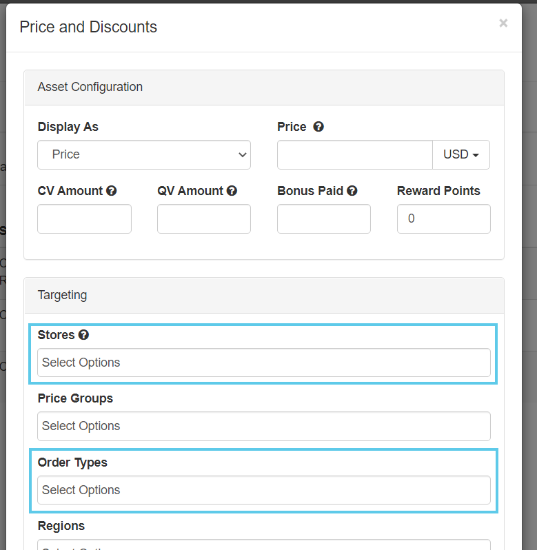 Stores and Order Types fields