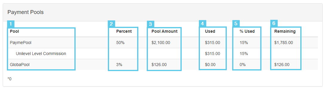 Payment Pools section elements (Click to enlarge)