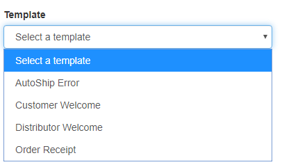 Template dropdown