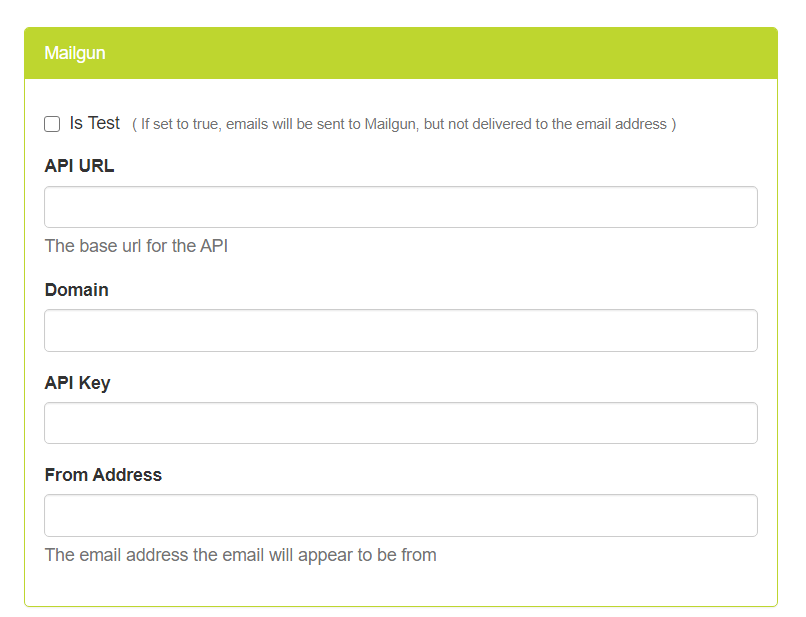 Mailgun credential form