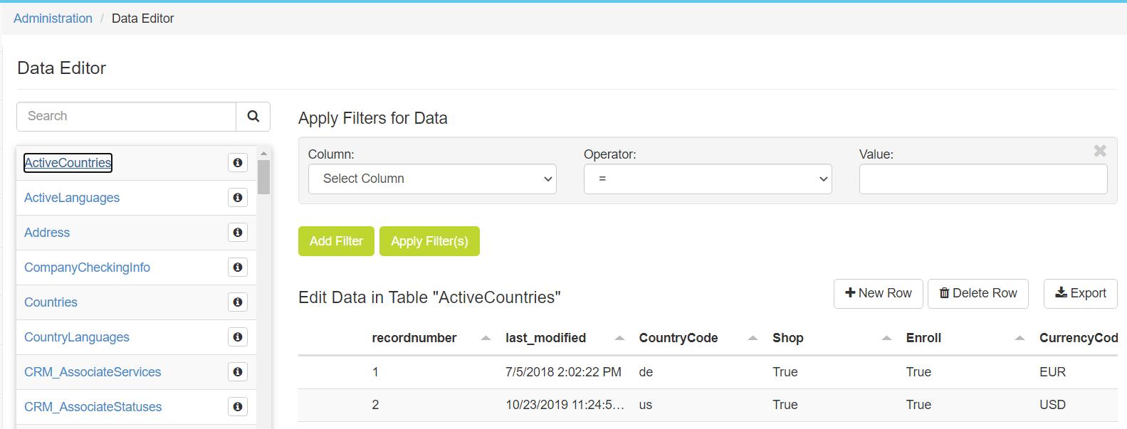 Data Editor page