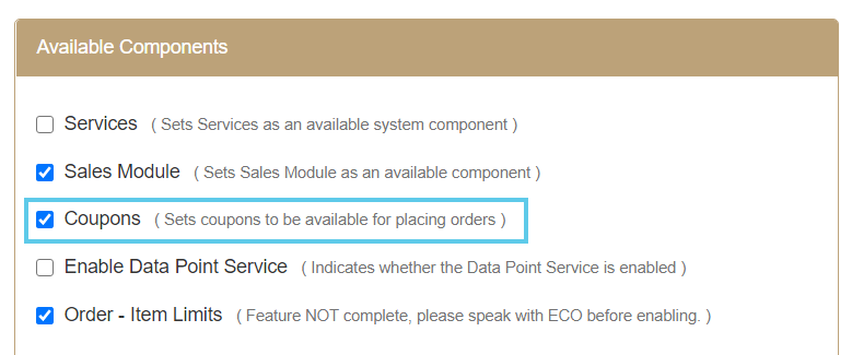 Available Components section