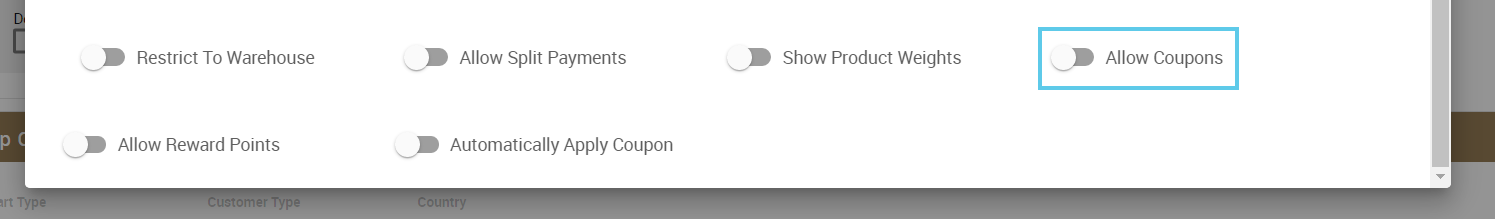 Allow Coupons toggle