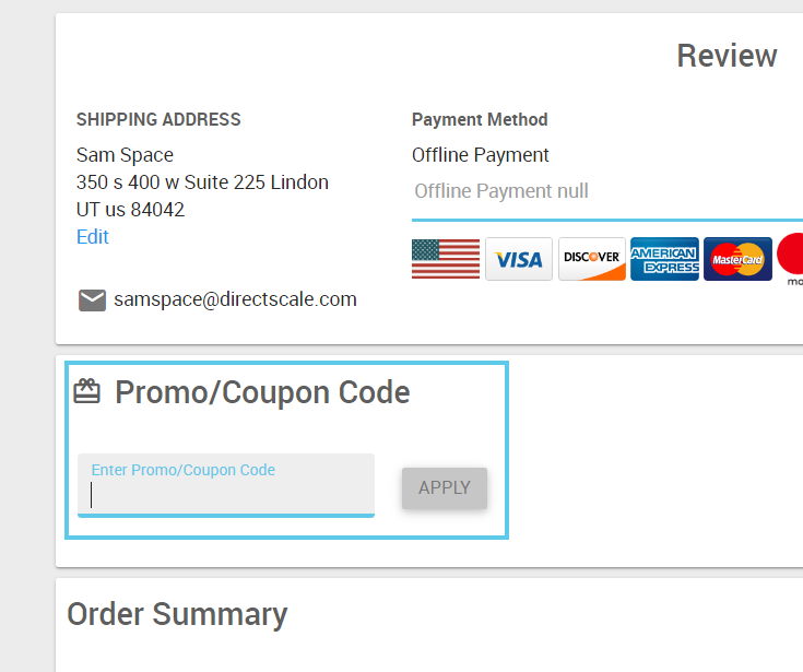 Promo/Coupon Code field