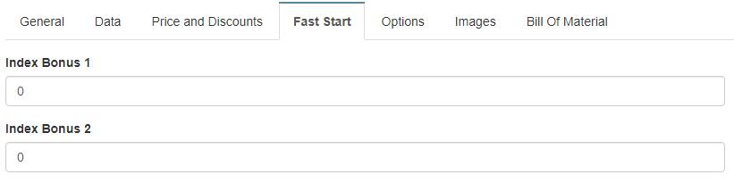 Fast Start tab