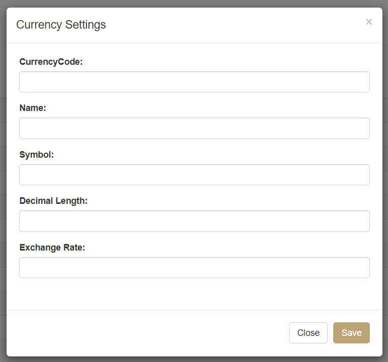Currency Settings pop-up