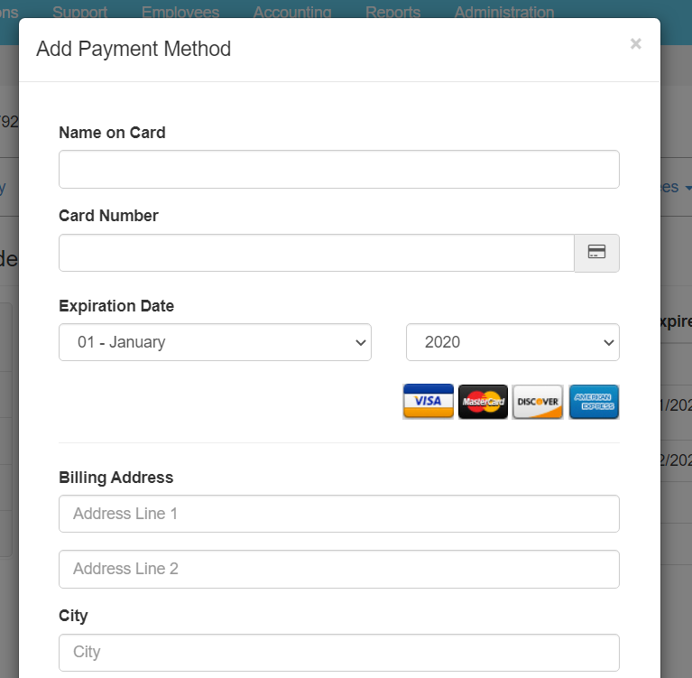 Add Payment Method pop-up