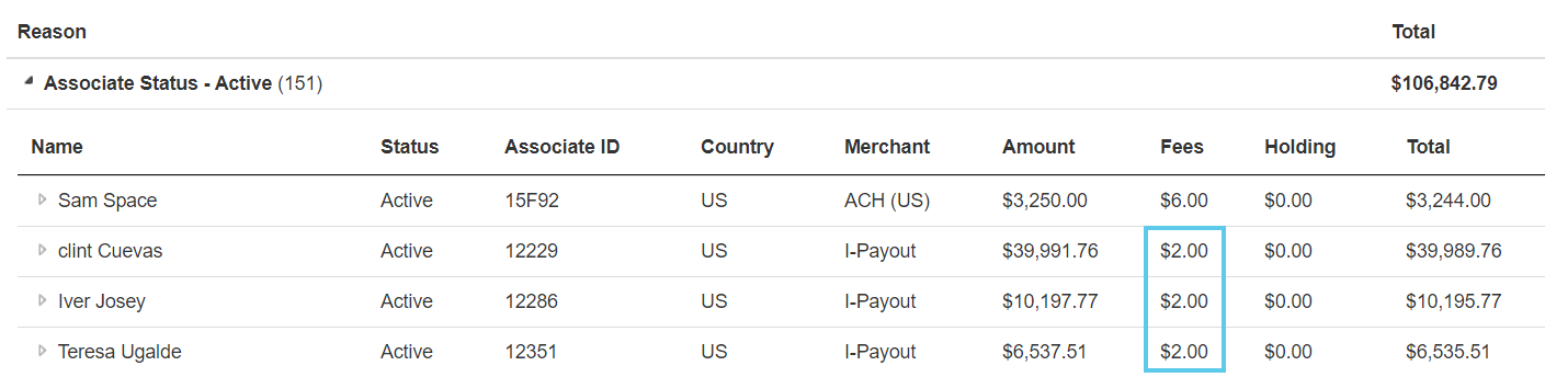 Commission Payable-Level Fee in Payables Pay tab