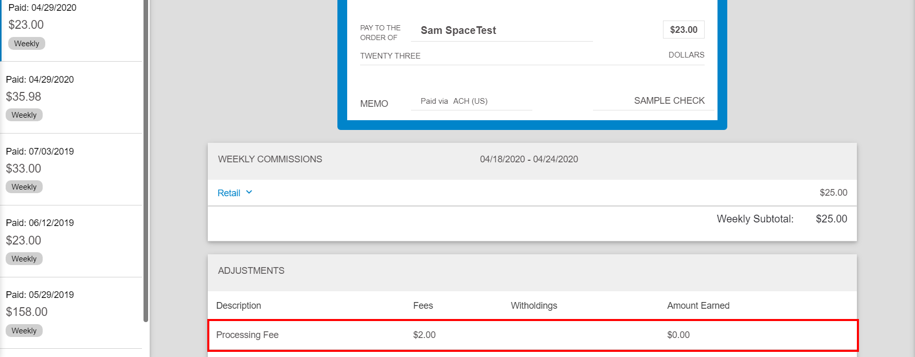 Processing fee in Web Office > Pay History page