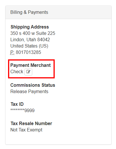 Payment Merchant set in an Associate's Detail page