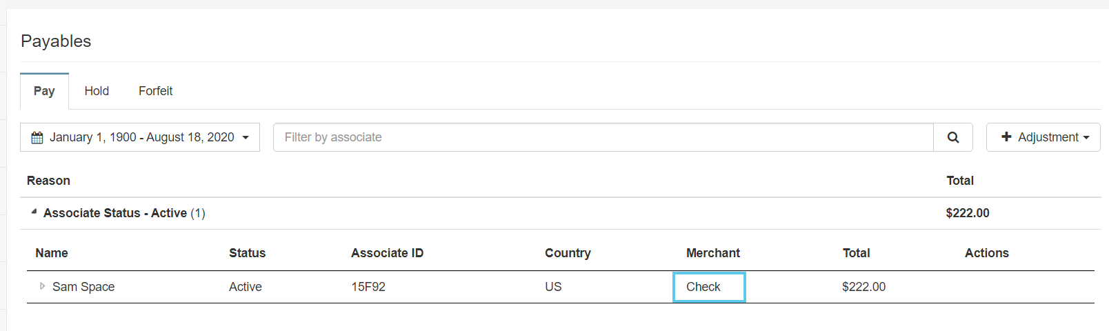 Added adjustment with Check provider