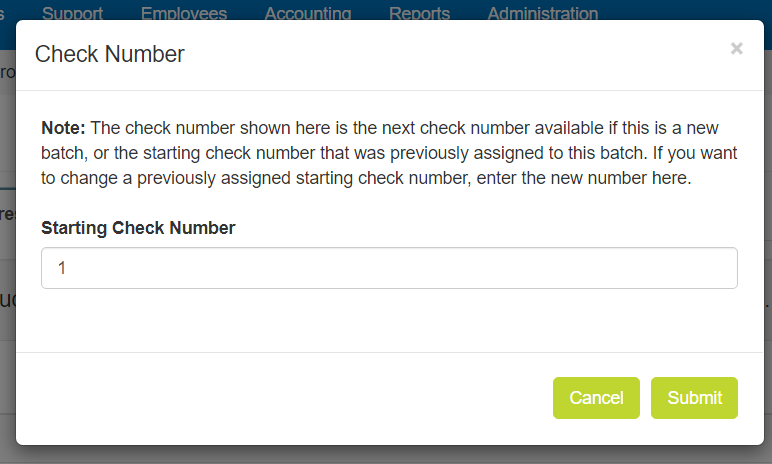 Check Number pop-up window