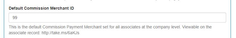 Default Commission Merchant ID field