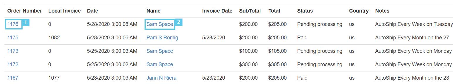 Orders List