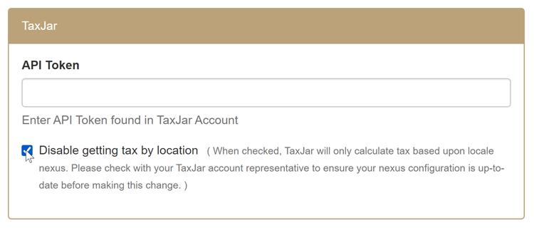 TaxJar Settings
