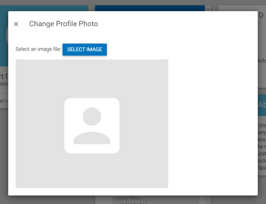 Change Profile Photo pop-up