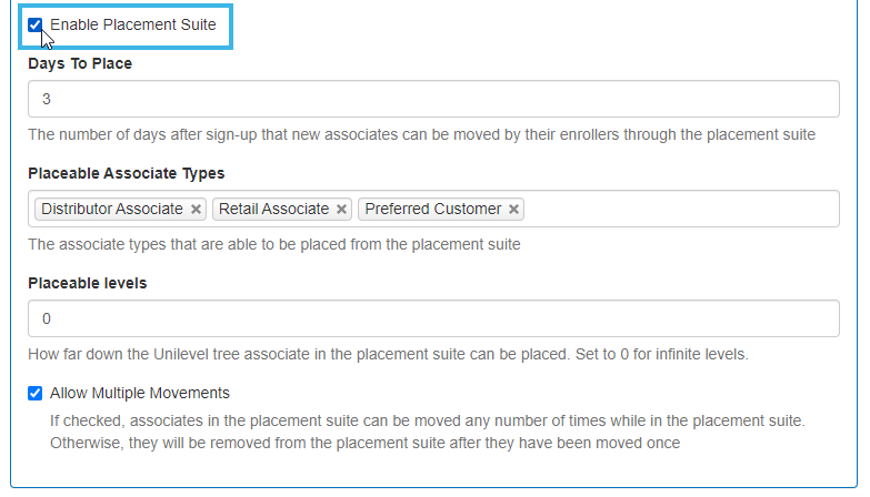 Enable Placement Suite checkbox