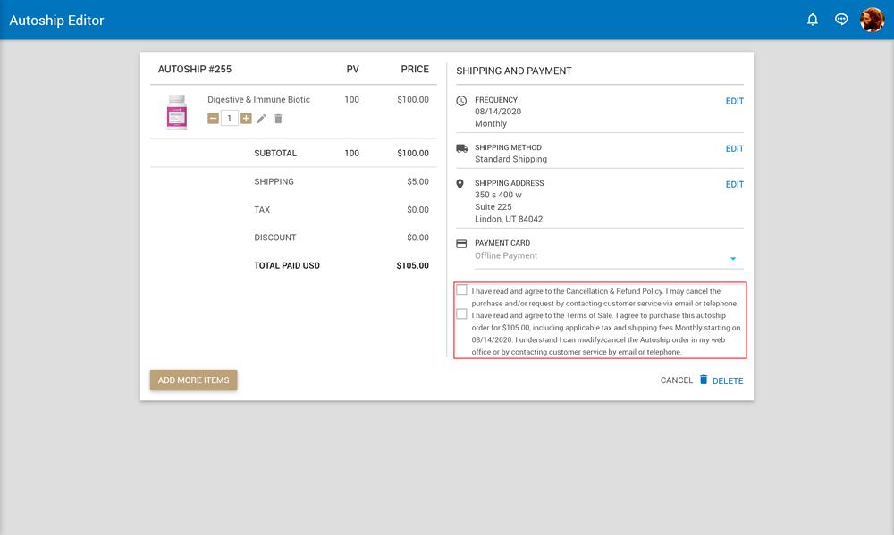 AutoShip Editor Checkout page