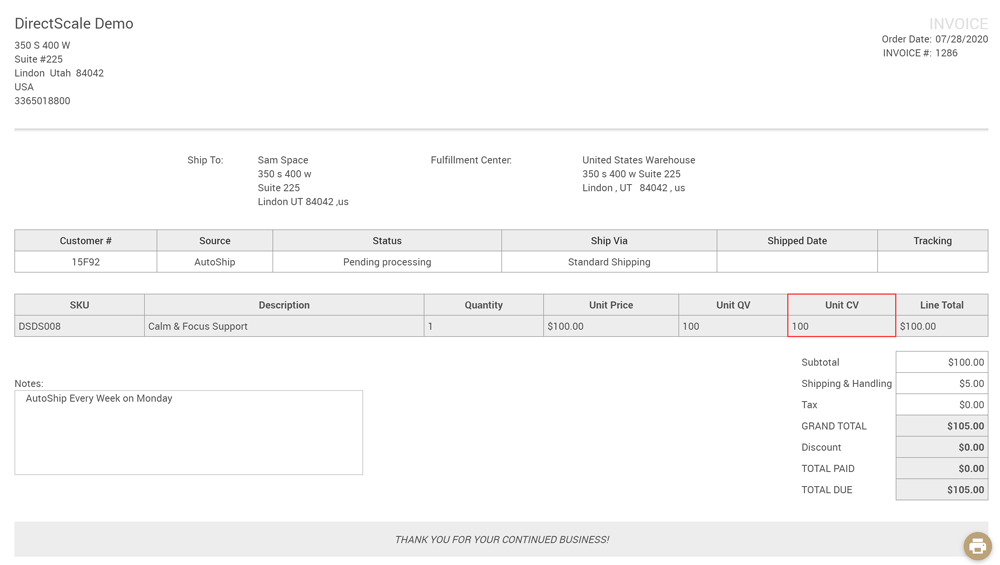 Web Office Invoice** page