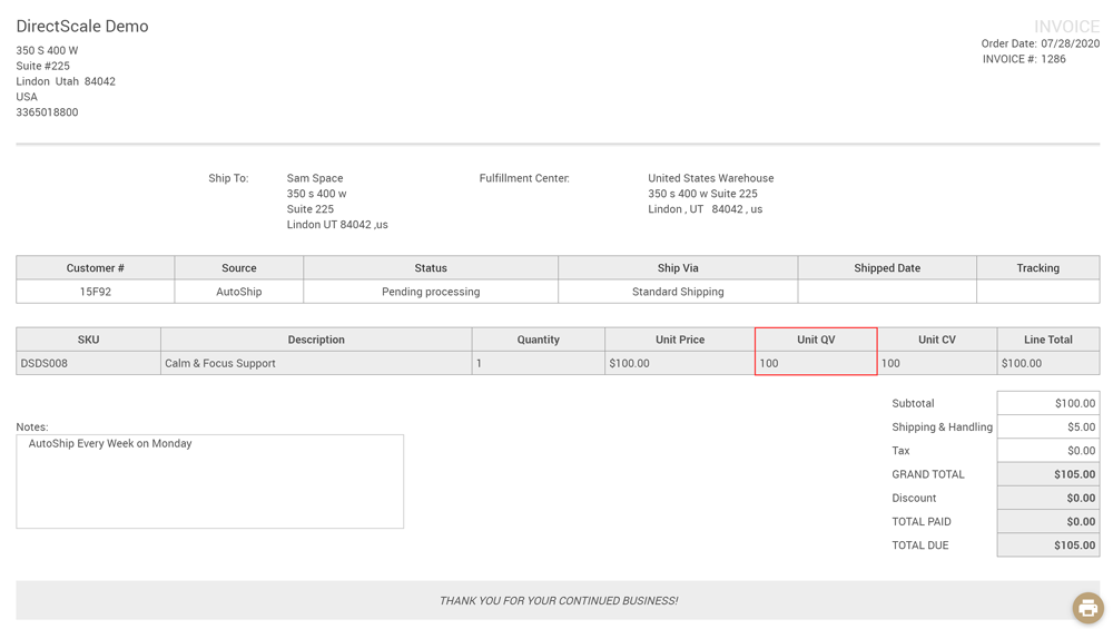 Web Office Invoice page