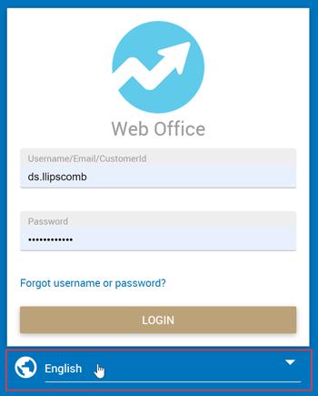 Web Office Login dropdown