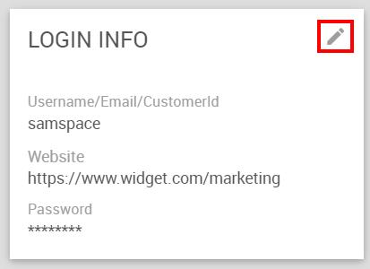 Edit icon on the widget