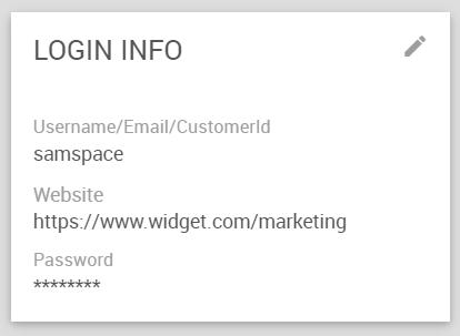 Settings > Account > Login Info Widget
