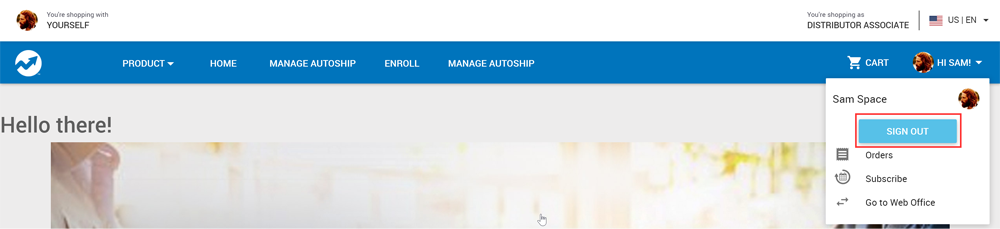 Sign Out button on the Profile dropdown