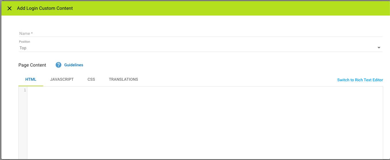 Add Login Custom Content pop-up window