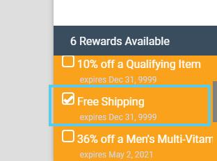 Rewards Available box > Free Shipping coupon