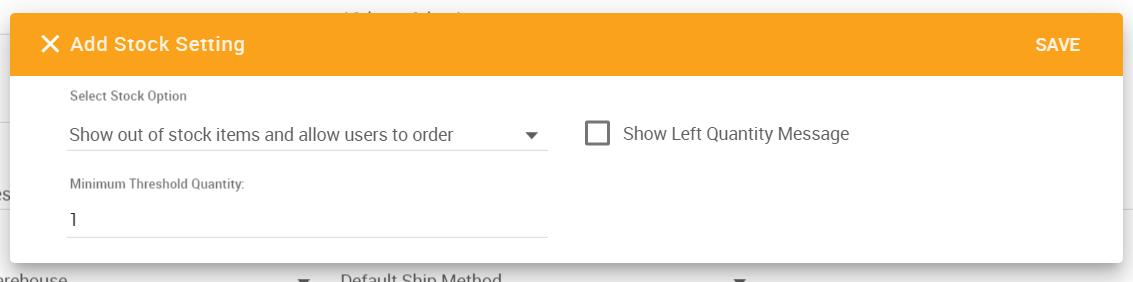 Add Stock Setting pop-up window