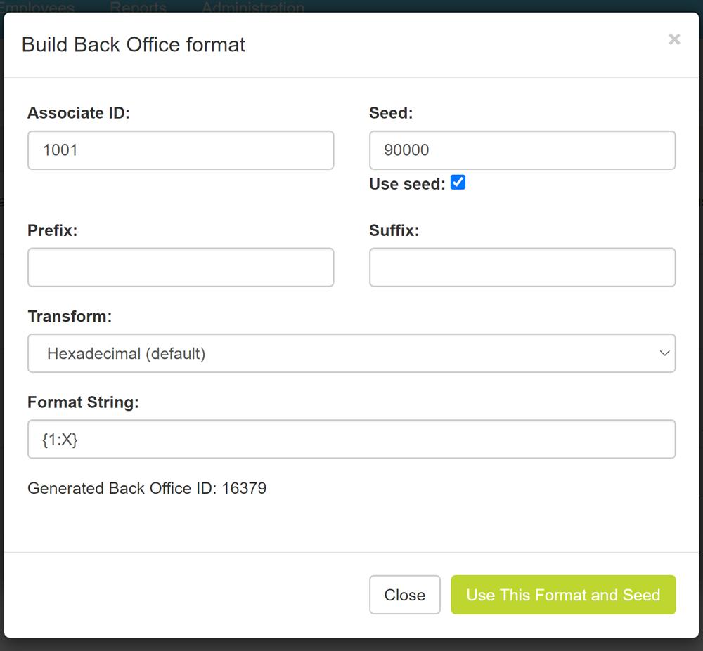 Build Back Office format pop-up