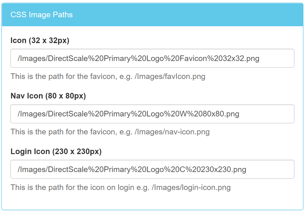 CSS Image Paths section