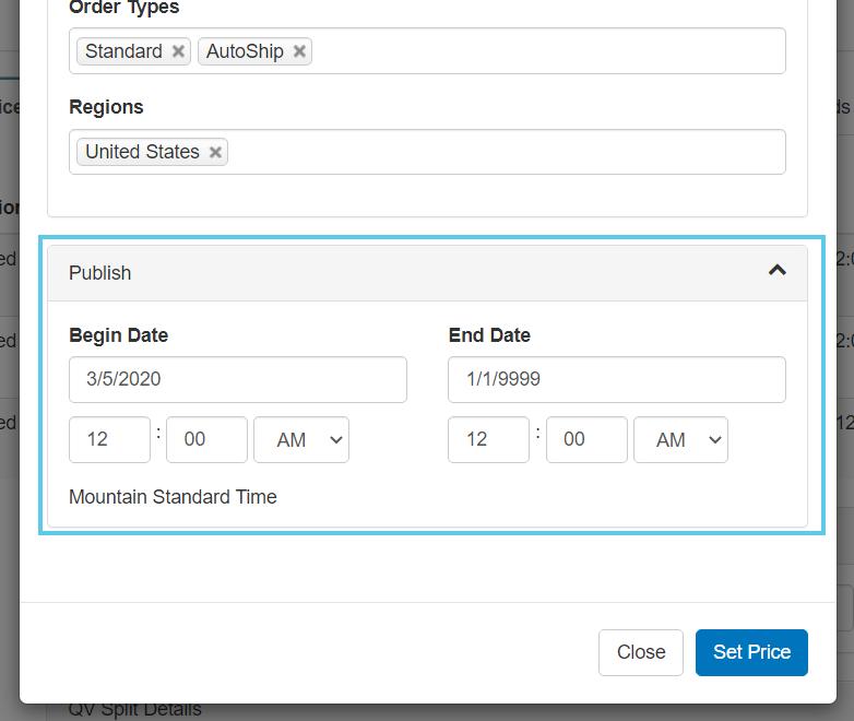 Publishing date settings