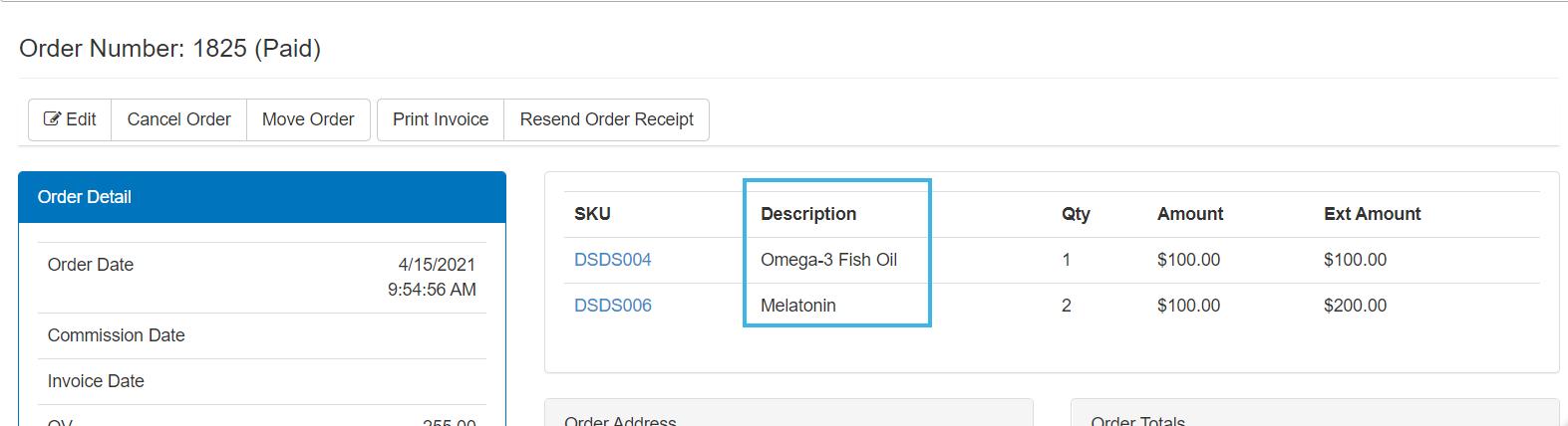 Order item Description