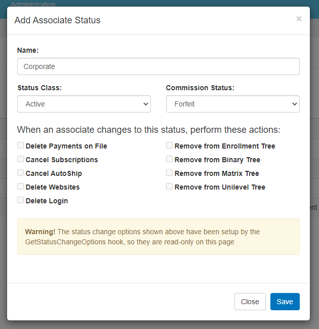 Add Associate Status pop-up window