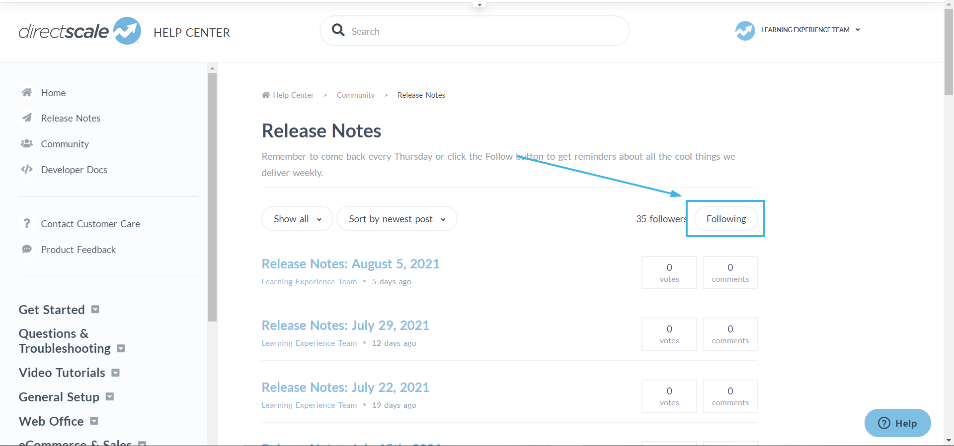 Subscribe to Release Notes