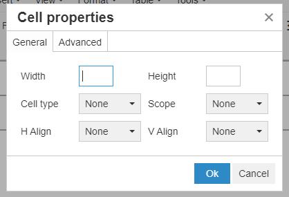 Cell properties pop-up window
