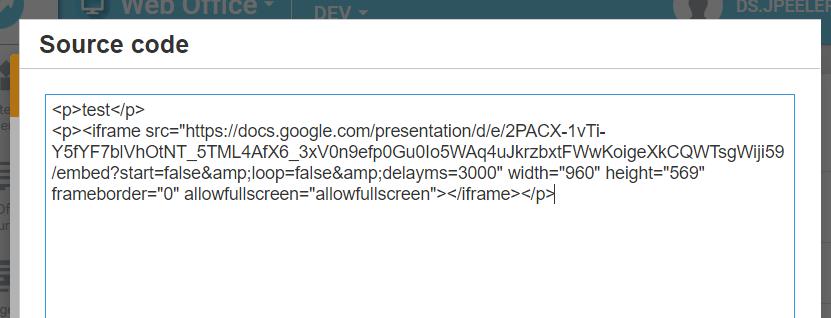 Source code pop-up window