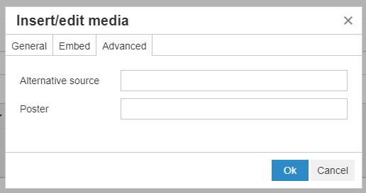 Insert/edit media pop-up window (Advanced)