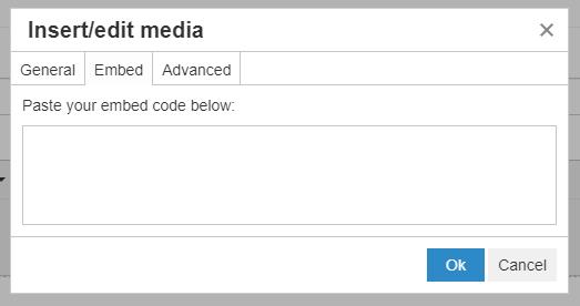 Insert/edit media pop-up window (Embed)